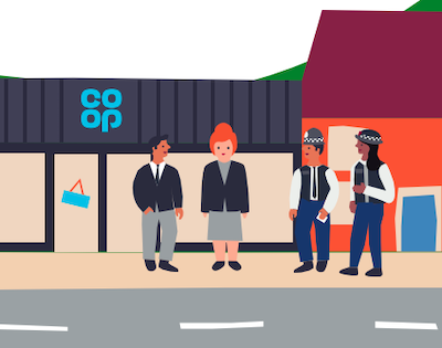 Police talk to staff outside a Co-op store