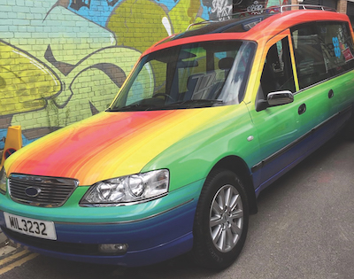 Picture of a rainbow coloured hearse
