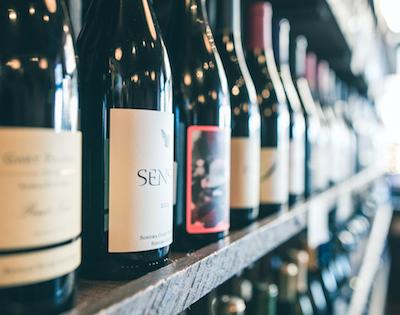 Wine on a shelf in store