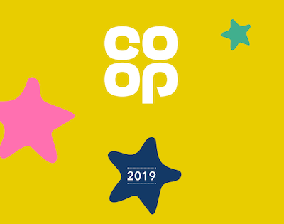 Yellow badge with coloured stars and Co-op Symbol
