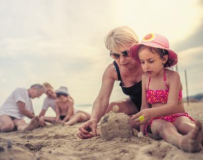 Lady & Child on a beach
